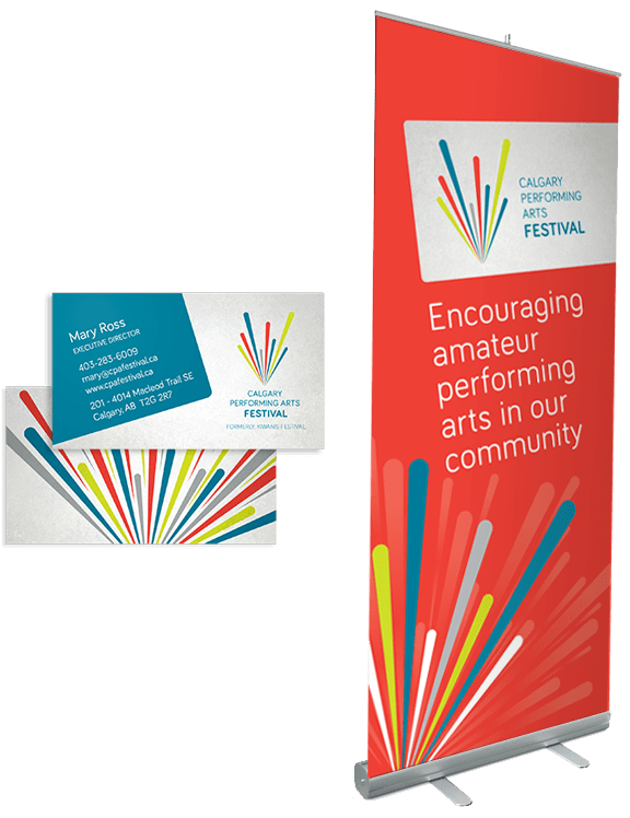 Calgary Performing Arts Festival business card and banner