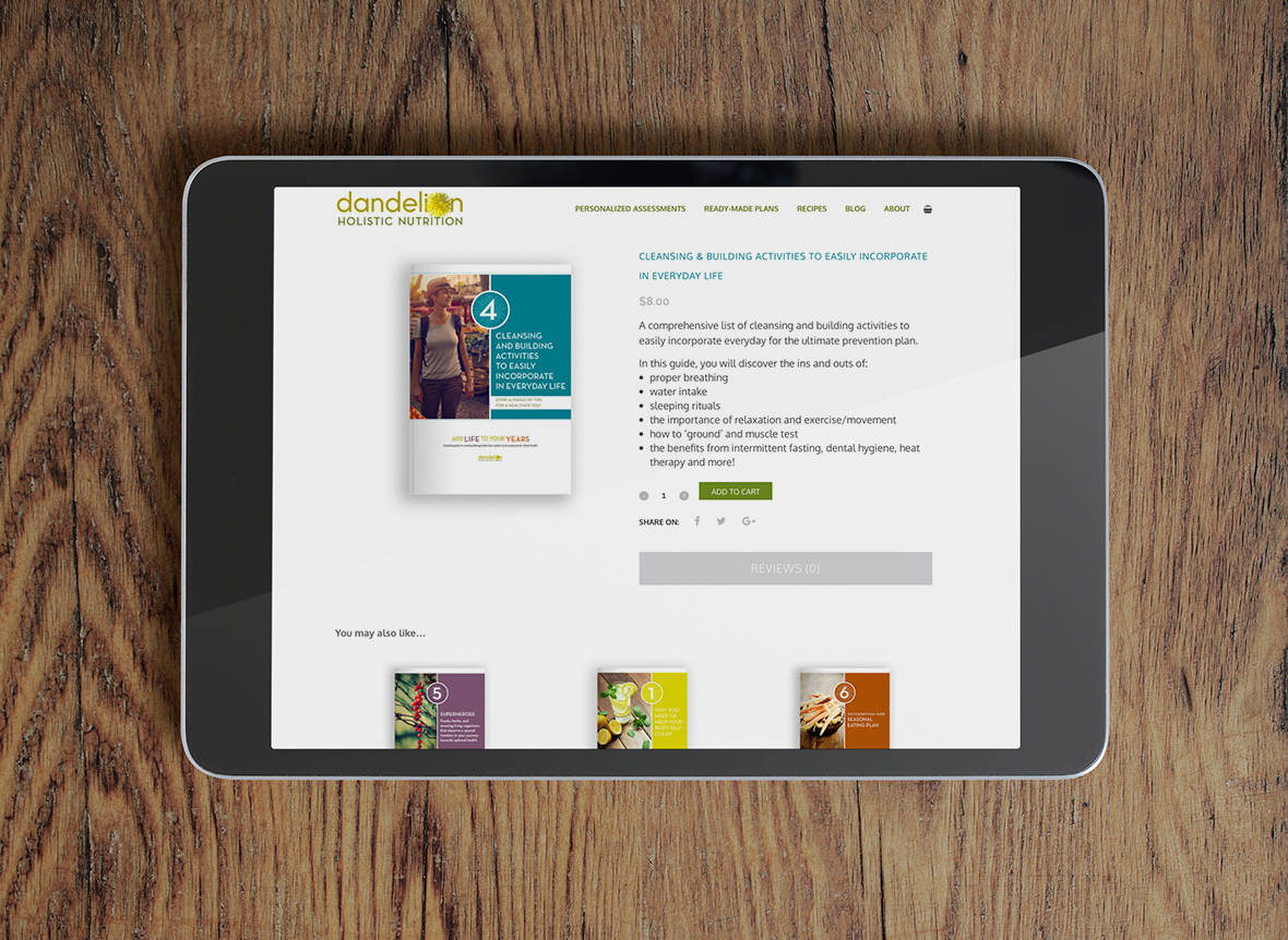 Dandelion Holistic Nutrition website - Guides
