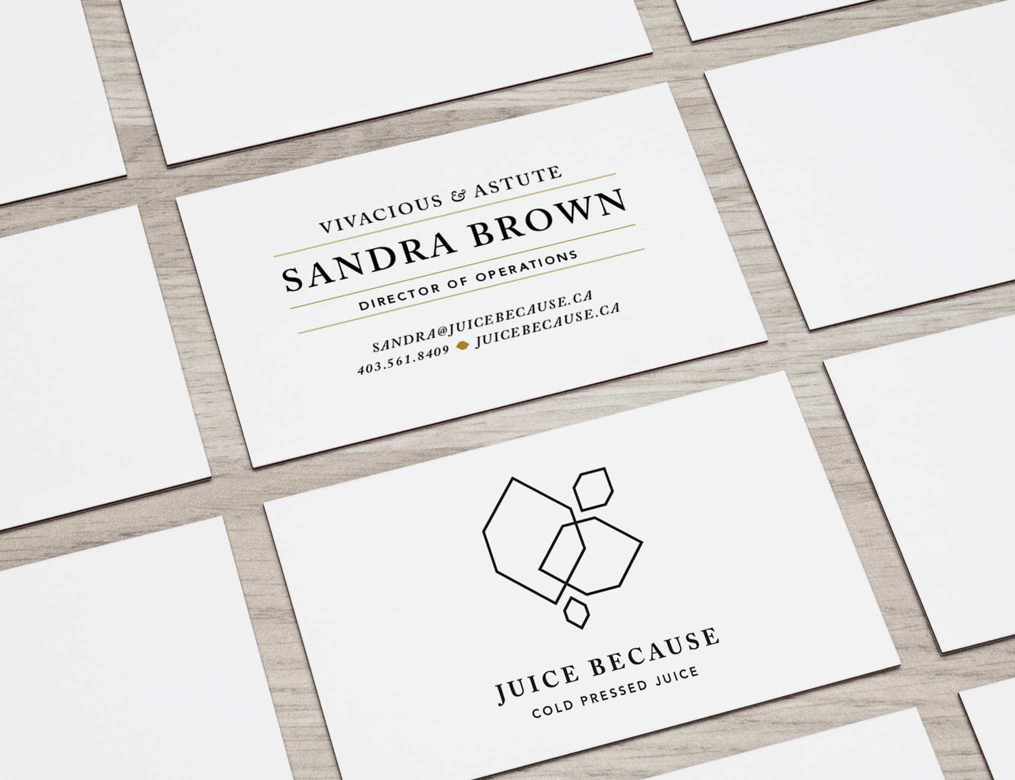 Juice Because Business Cards