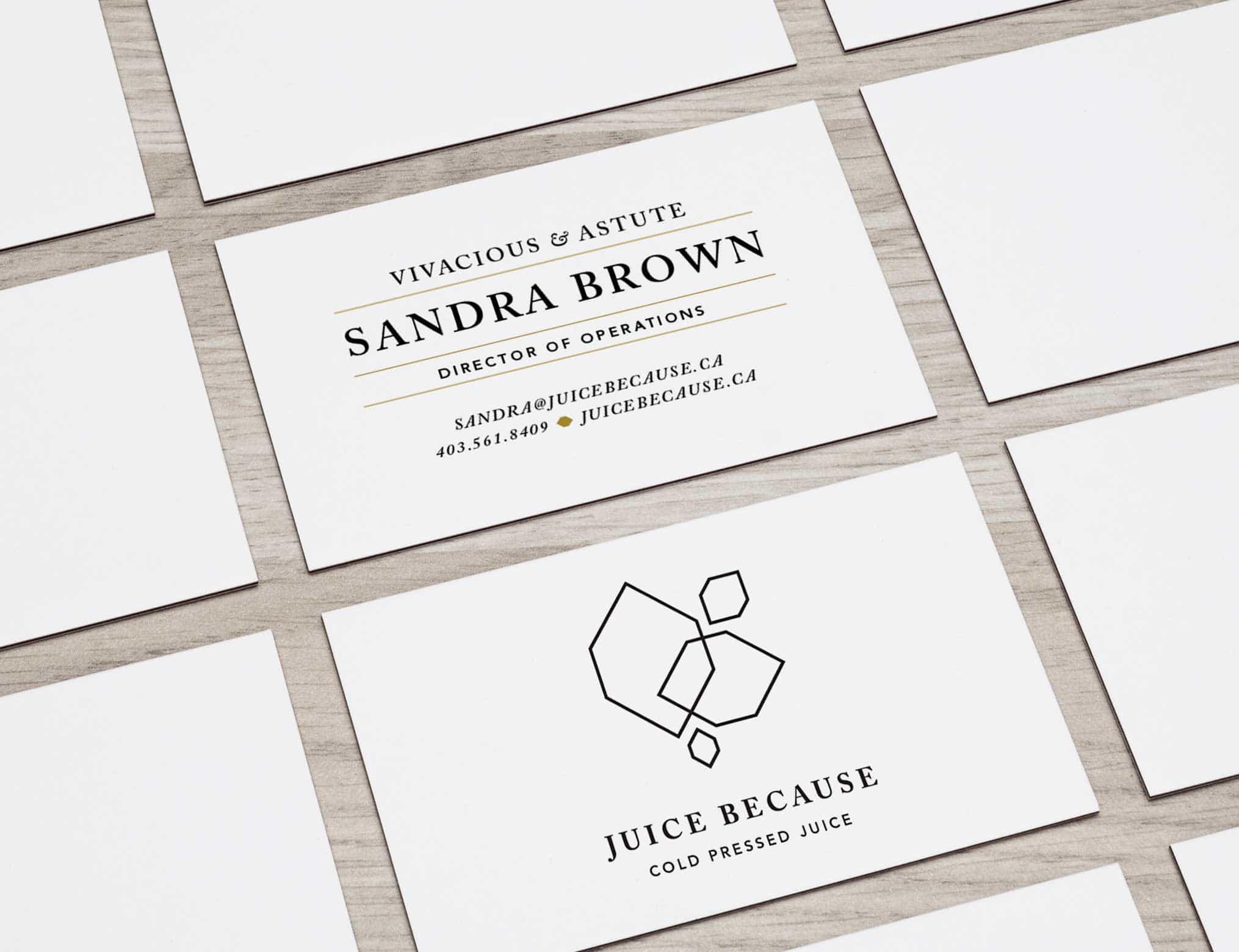 Juice Because Business Cards