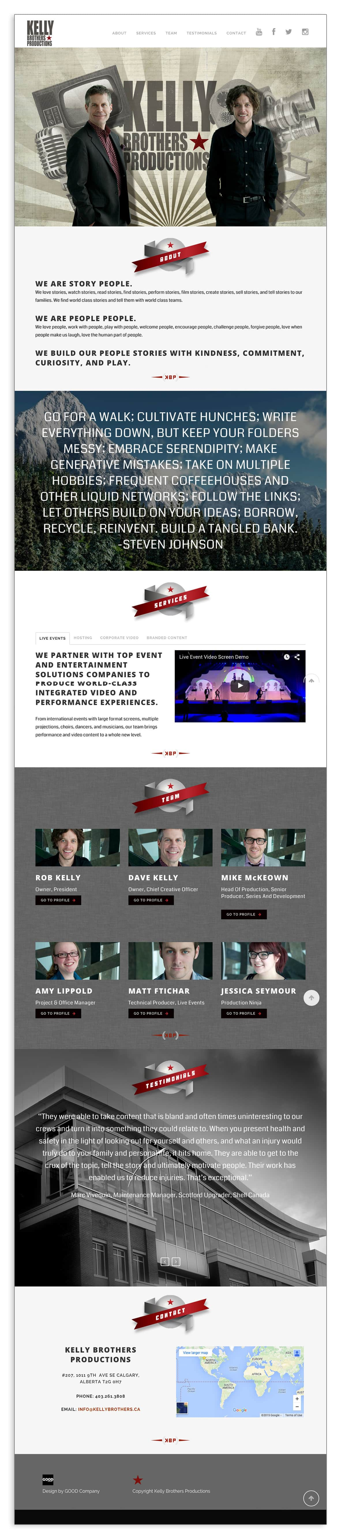 Kelly Brothers Productions Website