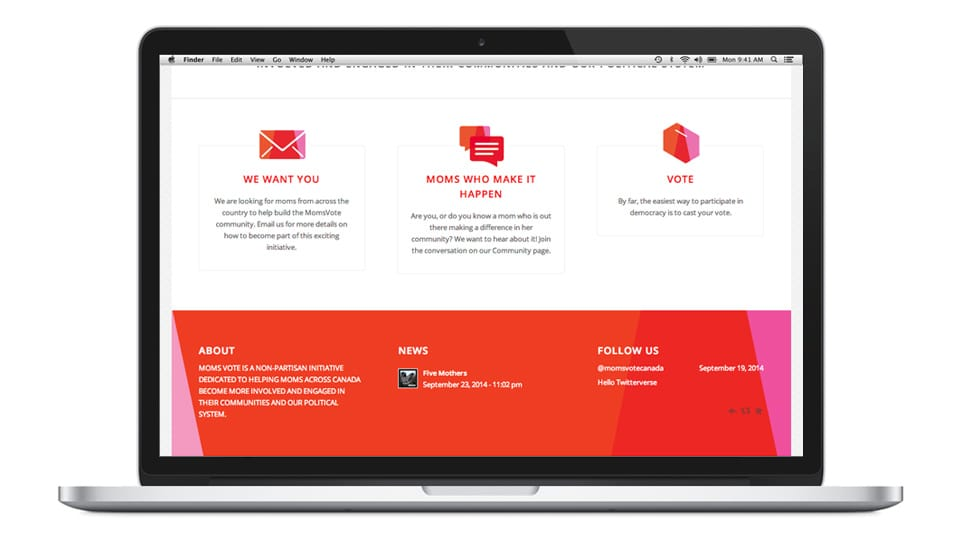 Moms Vote website design