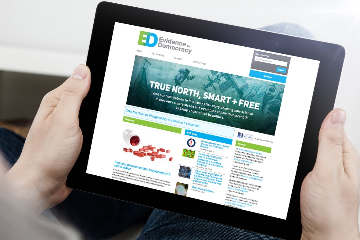 Tablet Evidence For Democracy Website Design