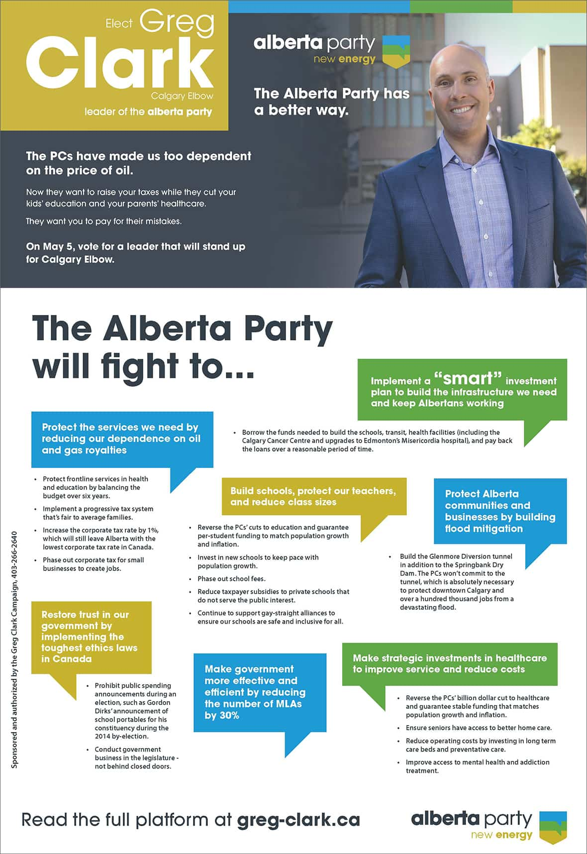 Alberta Party / Greg Clark brochure