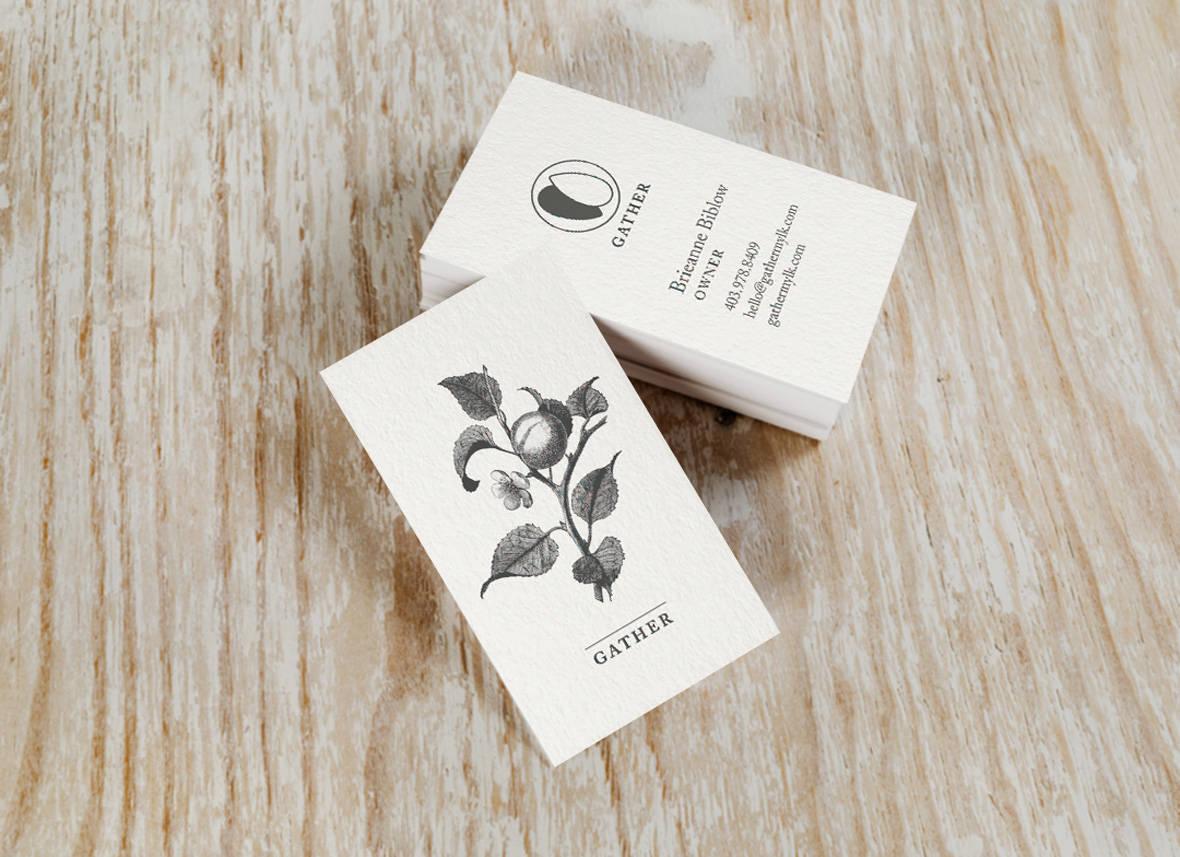 Gather Business Cards Almond milk brand