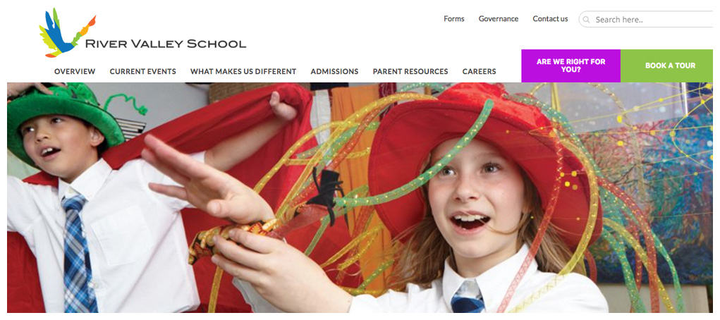 River Valley School website header & navigation