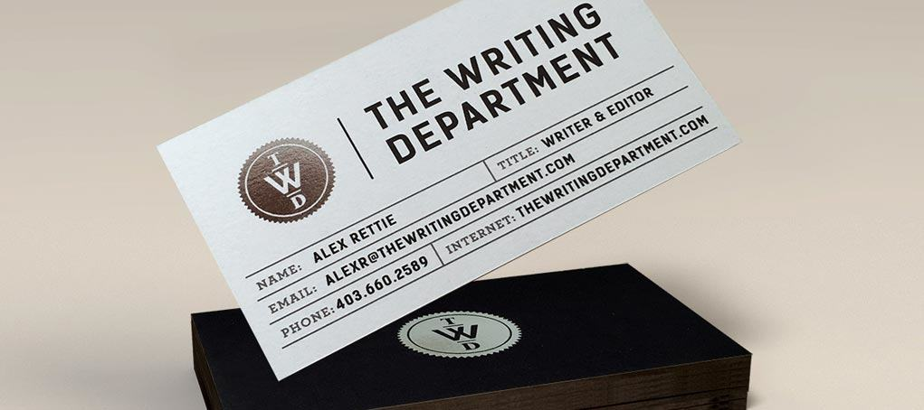 The Writing Department business card
