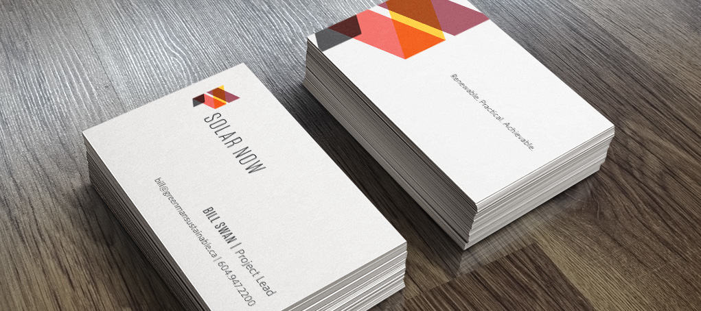 Solar Now logo on business card