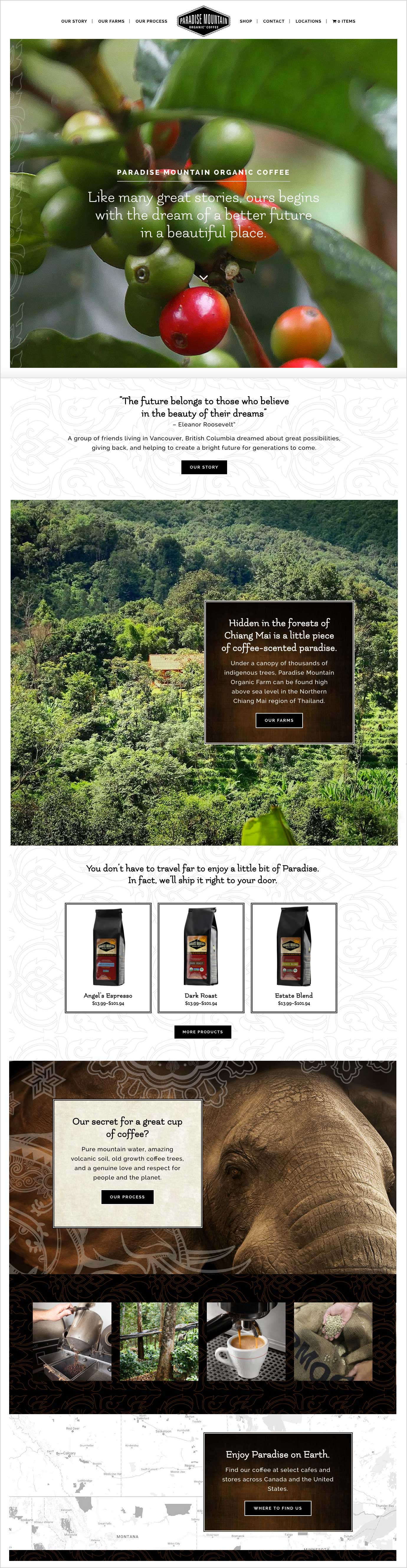 Paradise Mountain Organic Coffee website - Home page