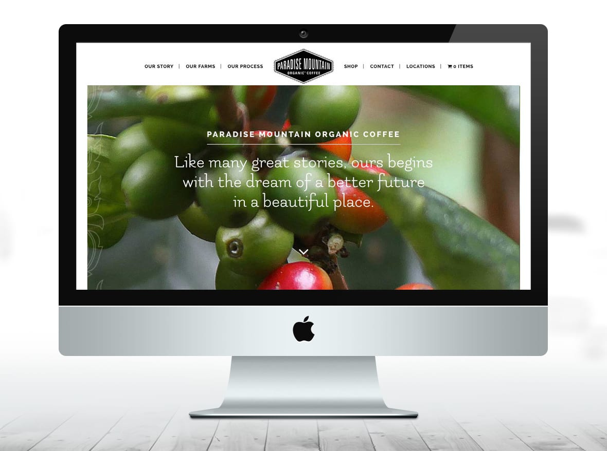 Paradise Mountain Organic Coffee - Website home page