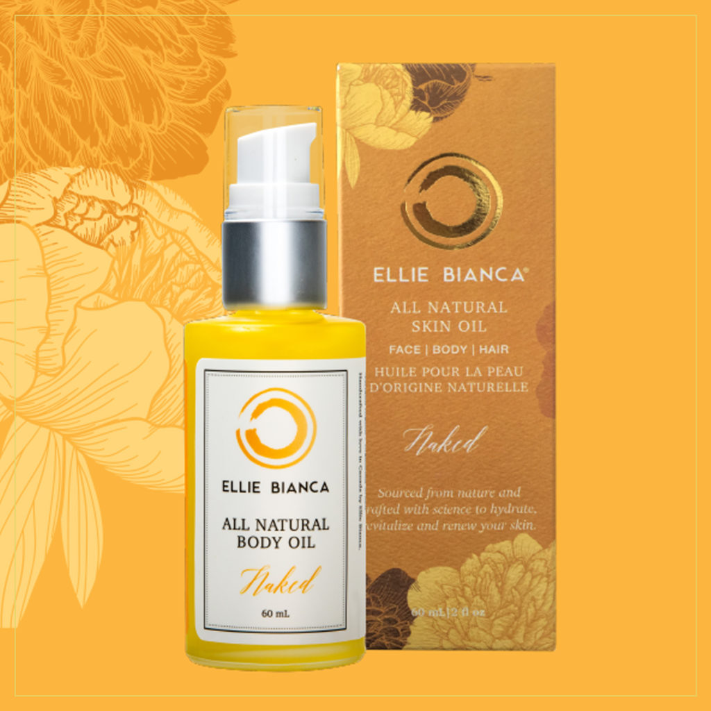 Certified Organic skin oil bottle and box
